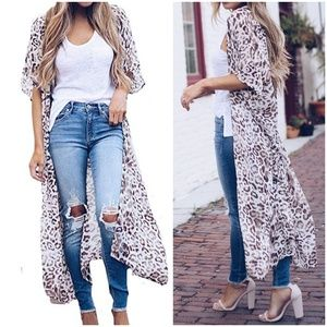 NEW Women's Leopard Chiffon Long Duster Cover Up